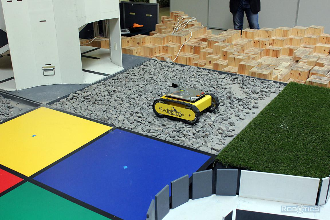 Robot cartographer on the stone covering obstacles landfill CRDI RTC competition of «Cup of RTK».
