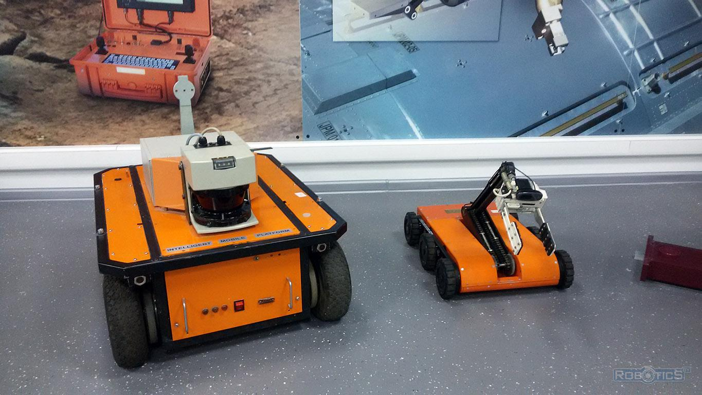 Modern wheeled robot at the exhibition of the museum CRDI RTC.