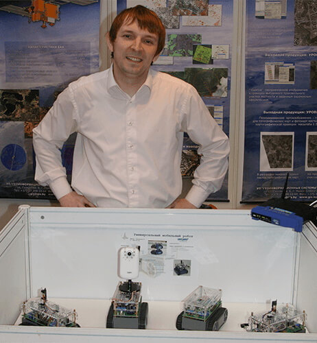Demonstration of prototypes of robots at the exhibition Tibo-2013