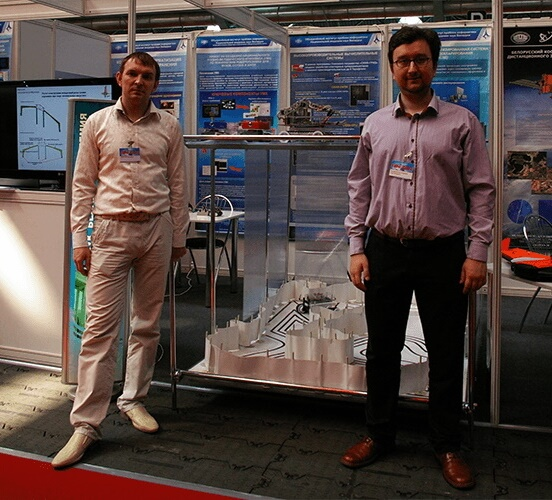 Demonstration of prototypes of robots at the exhibition Tibo-2014