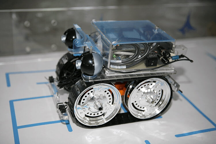 The current prototype of a tracked mobile robot with all-wheel drive