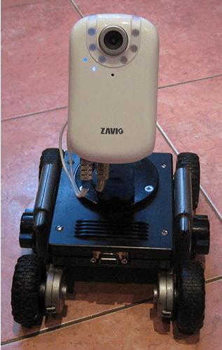 The current prototype wheeled mobile robot with an installed IP camera