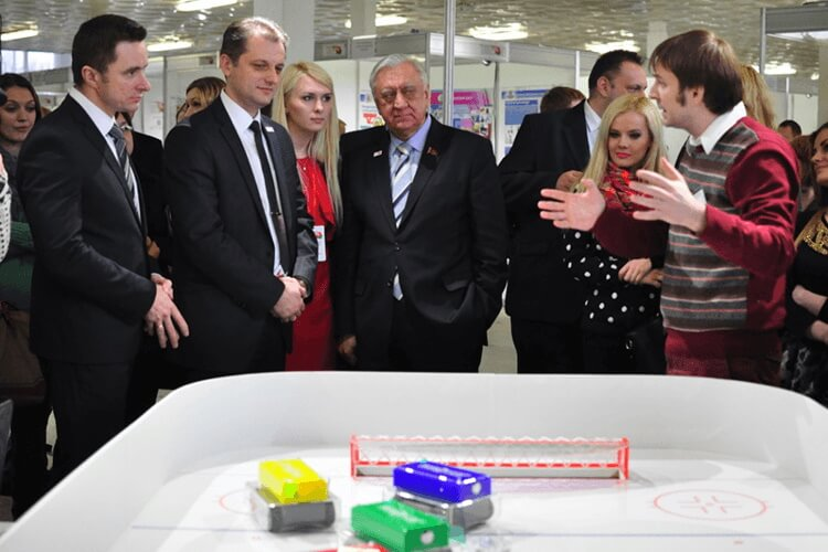 "2015 Demonstration of robo-hockey at the republican youth competition of ""100 ideas for Belarus"" 2015"