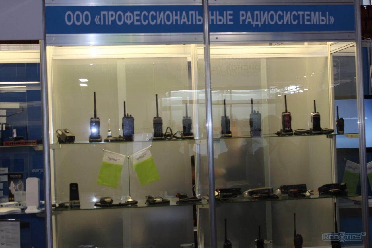 "A stand with the products of ""Professional Radio Systems"" LLC at the ""TIBO-2019"" exhibition"