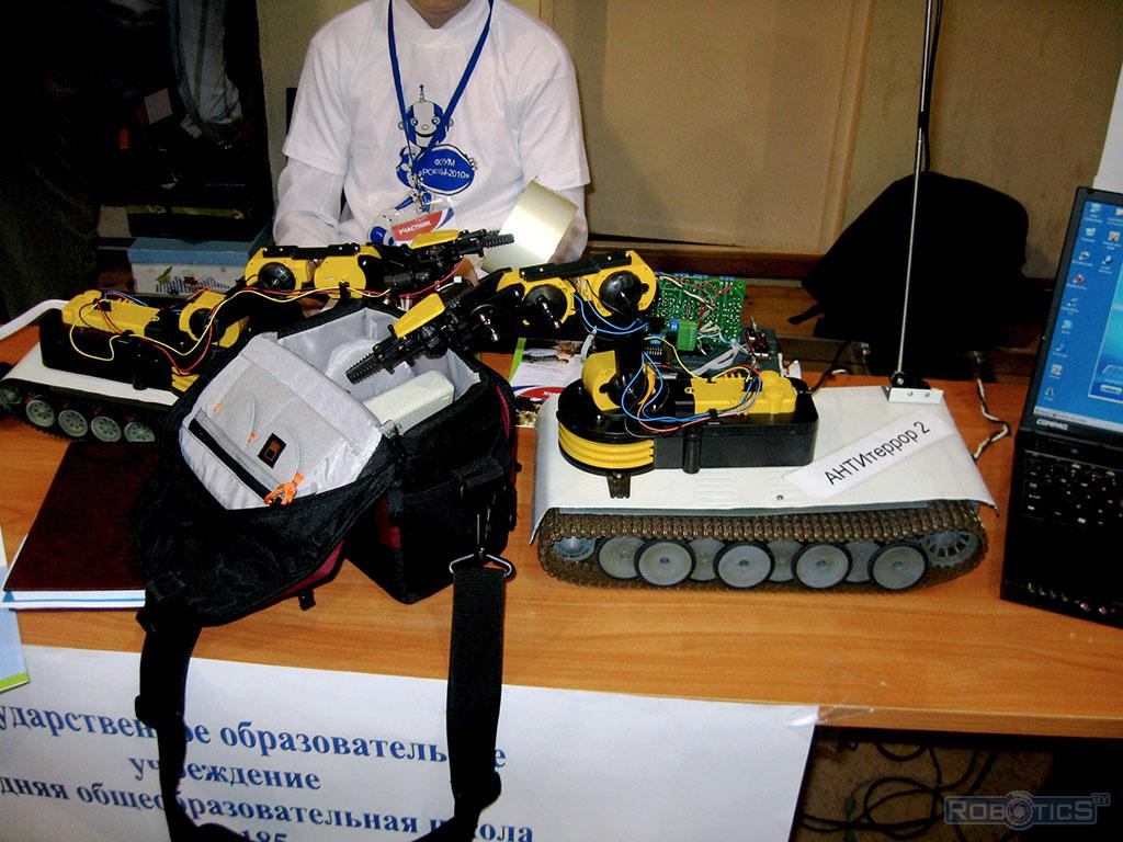 A robot manipulator on self-propelled chassis for mine-clearing tasks.