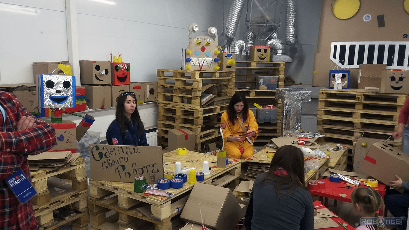 Creative area for children to build robots.