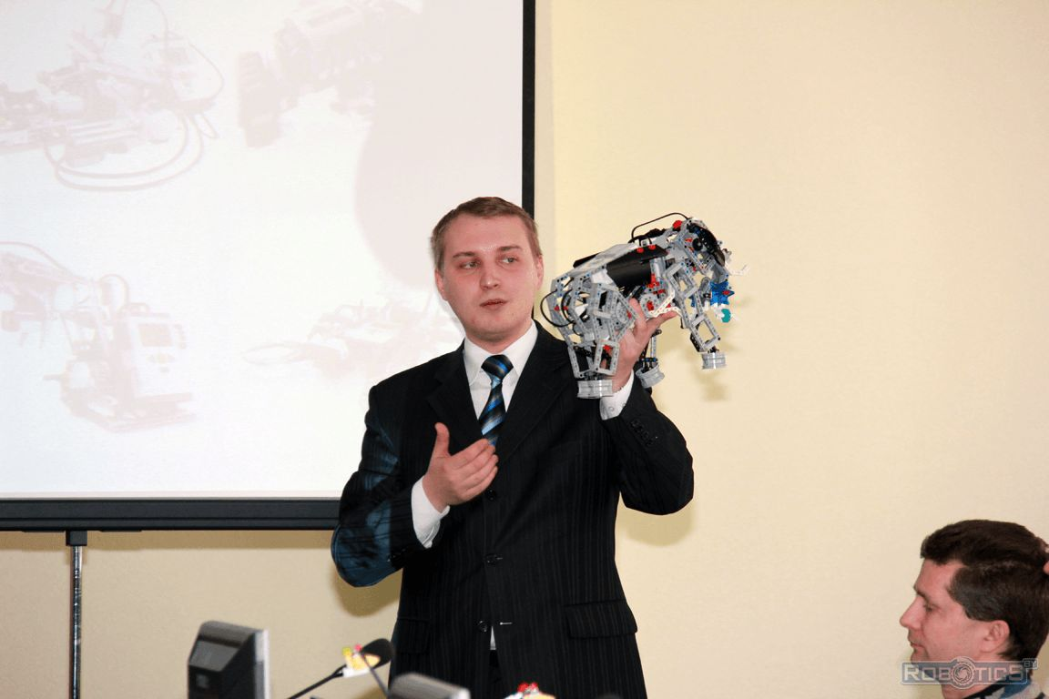 Igor Belevich present a report and demonstrate a robot LEGO® MINDSTORMS® EV3