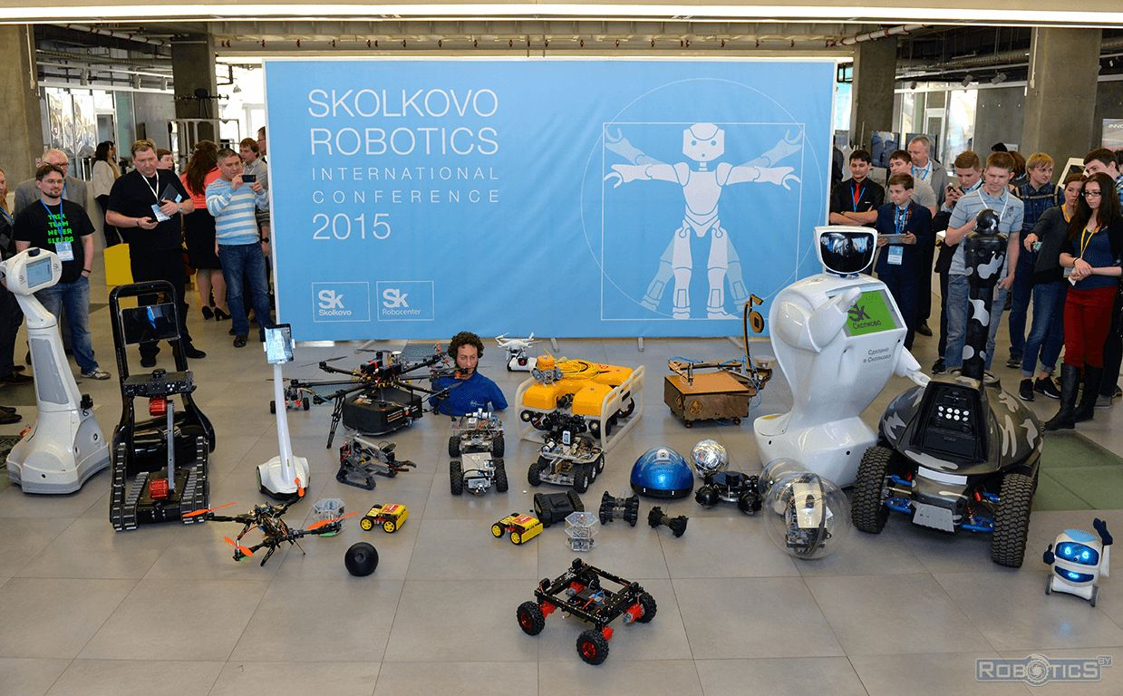 Memorable robots photo participants of the III International Conference «Skolkovo Robotics».