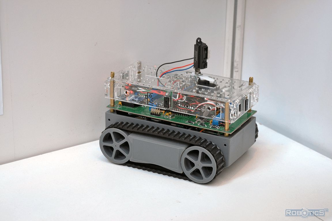 Close up of a universal mobile robot.