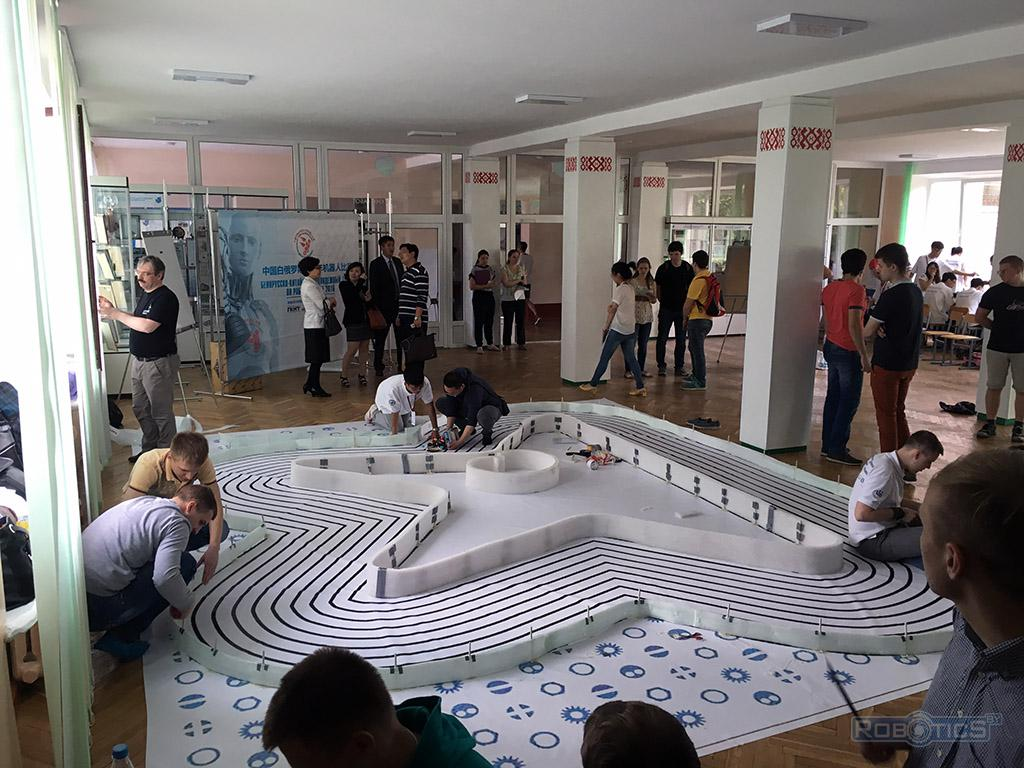 Arena 'Roborace' competition for mobile robots of the first Belarusian-Chinese Youth tournament on the robotics.