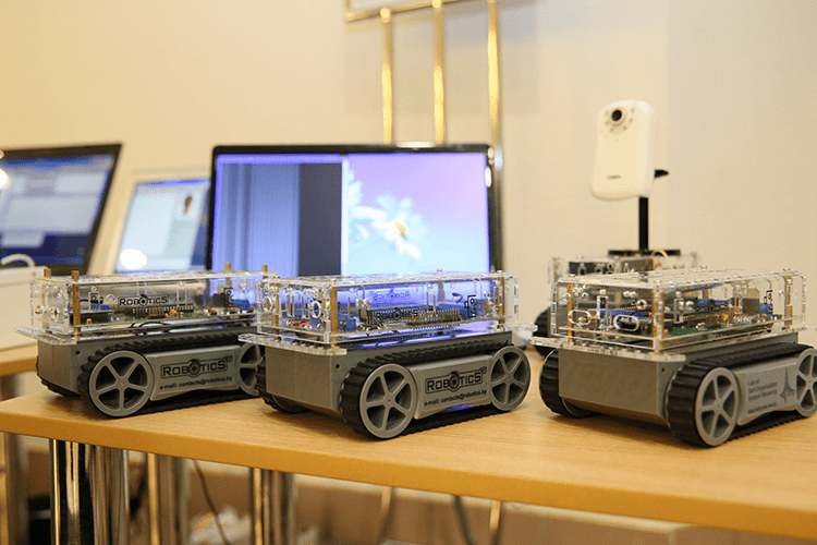 A demonstration of robots for educational complex of robotics