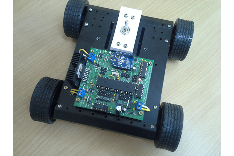 Working prototype four-wheeled mobile robot with four-wheel drive