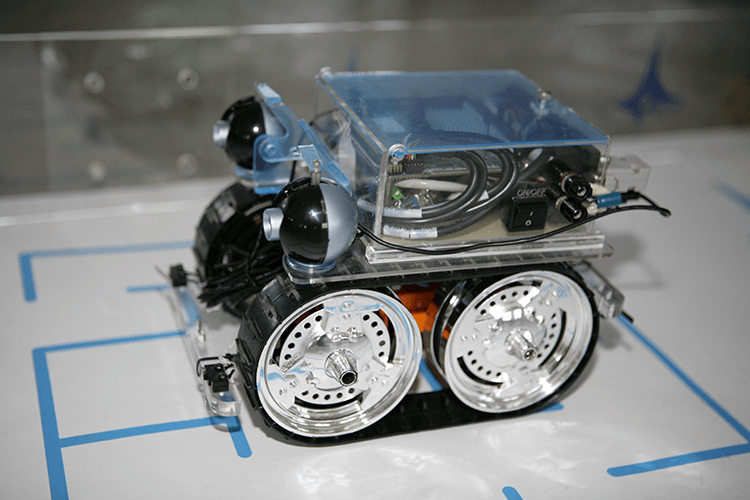 Working prototype tracked mobile robot with four-wheel drive