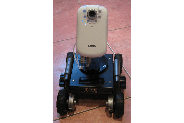 Working prototype wheeled mobile robot with installed IP camera